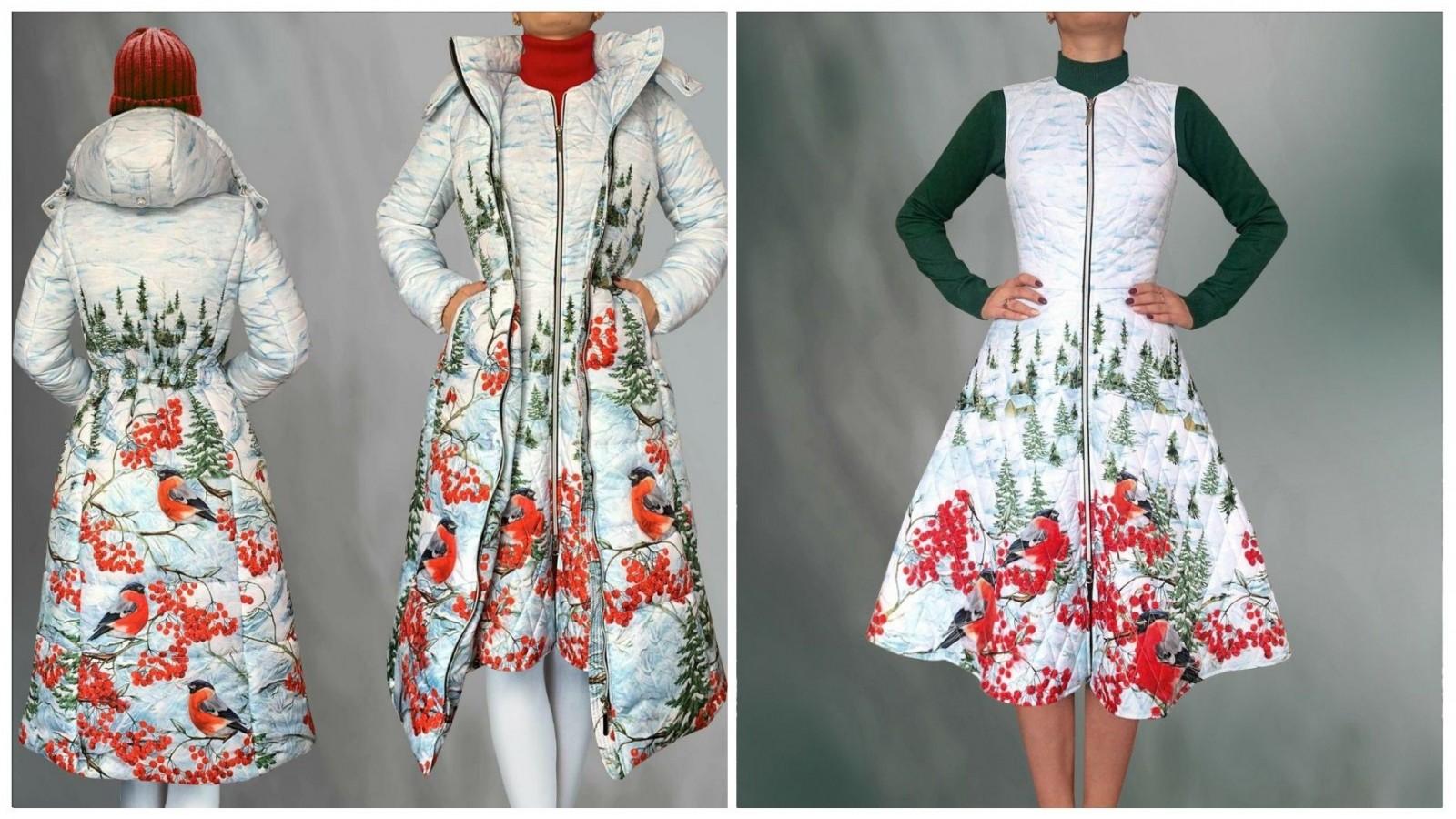 Пуховик Максима (Снегири), стоимость 19500₽. Платье Роза (Снегири и рябина), стоимость 7500₽. Стоимость водолазки 1850₽