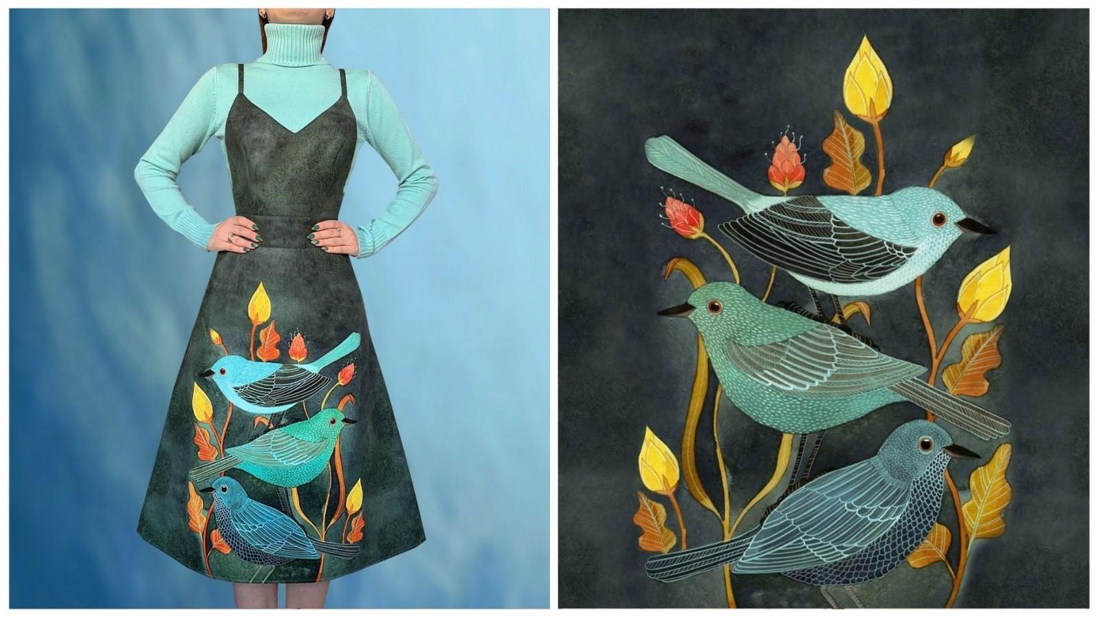 Сарафан Тропиканка (Три птицы), стоимость 6900₽. Стоимость водолазки 1850₽