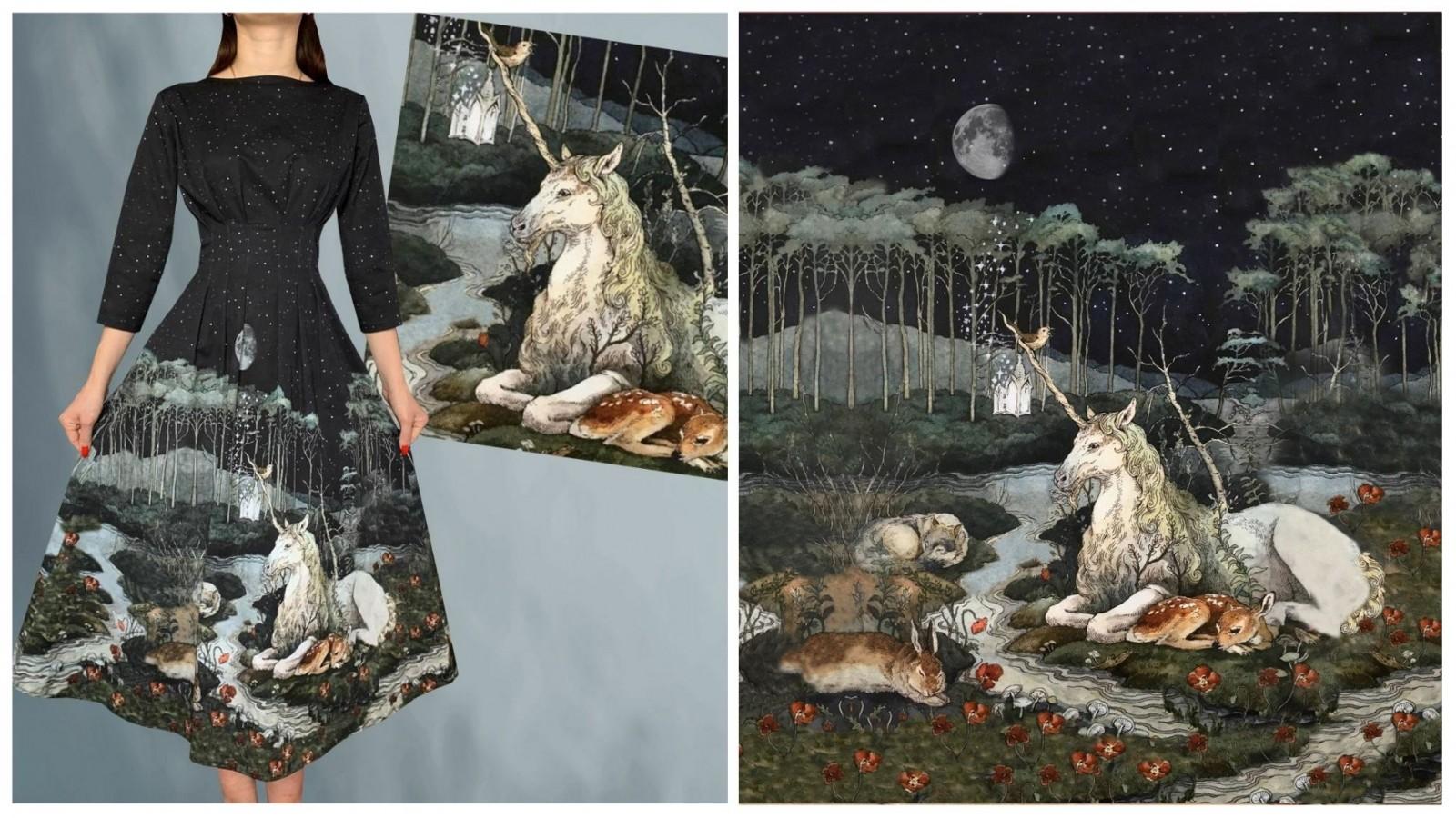 Платье Грета (Единорог), стоимость 8500₽. Габардин ( 100% хлопок)
