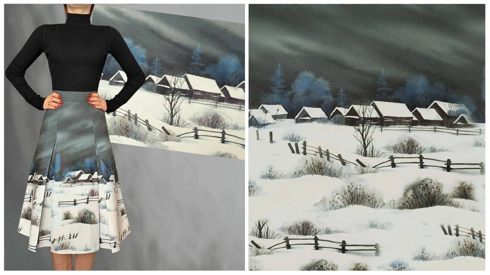 Юбка Селена (Долгая зима), стоимость 5500₽. Водолазка, стоимость 1850₽.