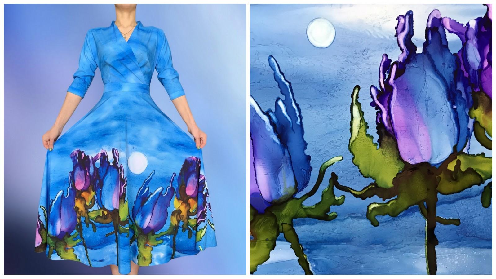 Платье Фаина (Акварельные цветы 2), стоимость 7500 рублей.