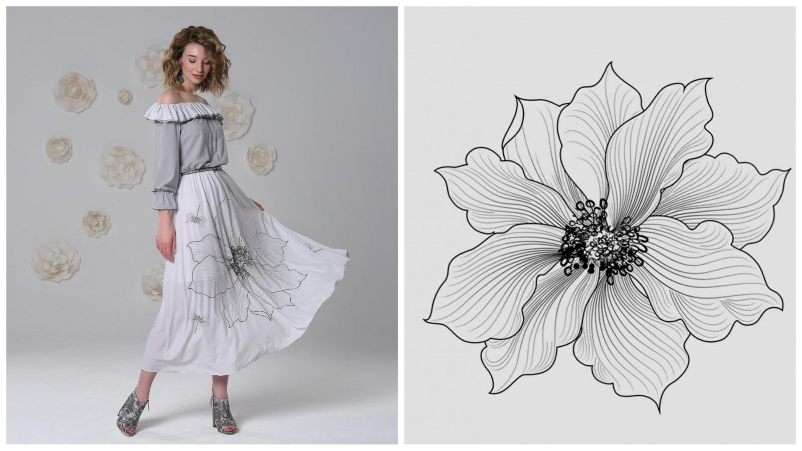 Платье Азалия (Белый цветок), стоимость 7900 рублей.