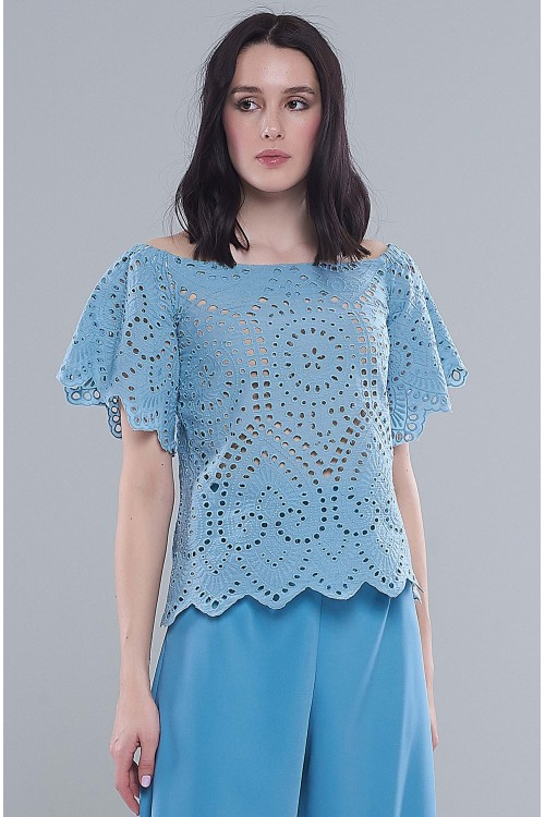 Блузка Маша (Кружево, кремовая/голубая)