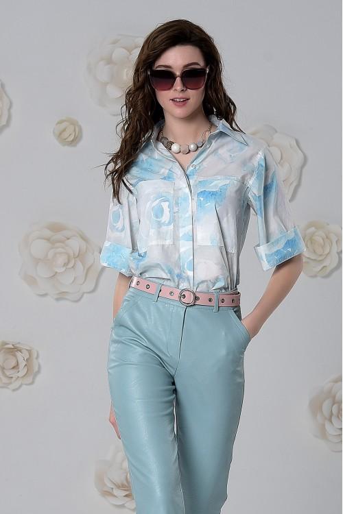 Рубашка Роза из хлопка цветы на белом