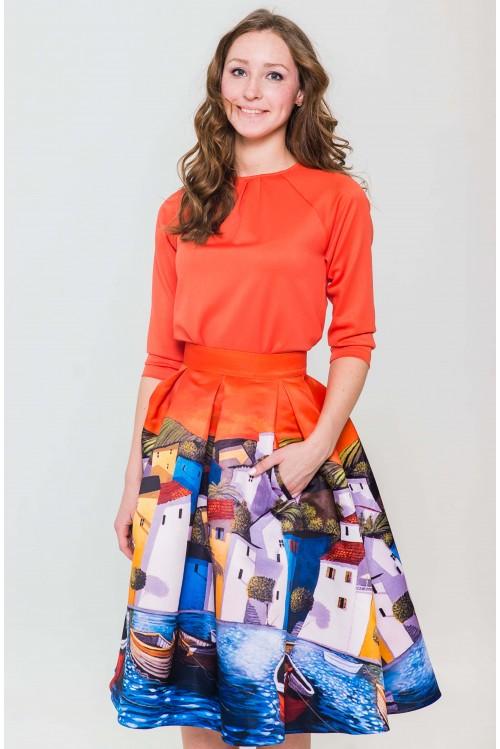 Блузка Виктория (оранжевый)