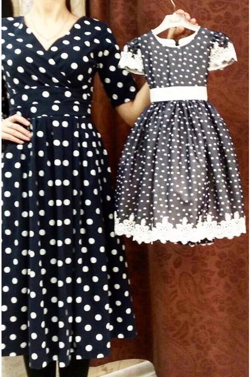 Платье Белла детское (в горошек)