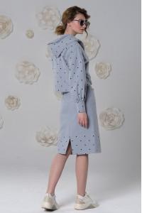 Ветровка Зарина из варёного хлопка с капюшоном дымчато-голубая