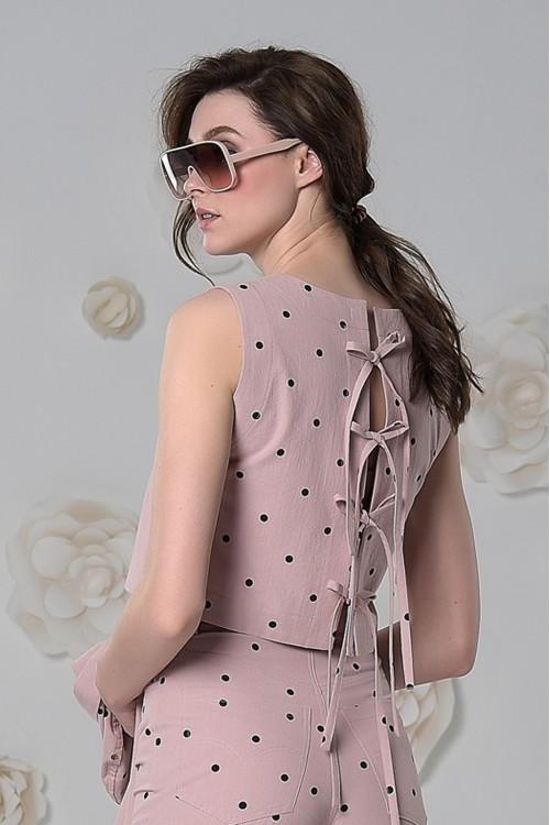 Блузка Лето из варёного хлопка в горошек пудрово-розвая