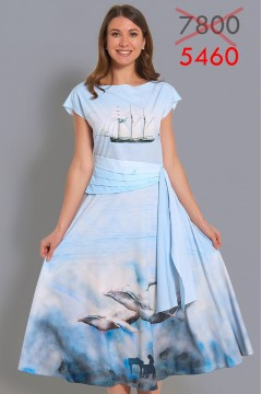 Комплект Блузка Ариша+Юбка Любовь (Музыка океана)