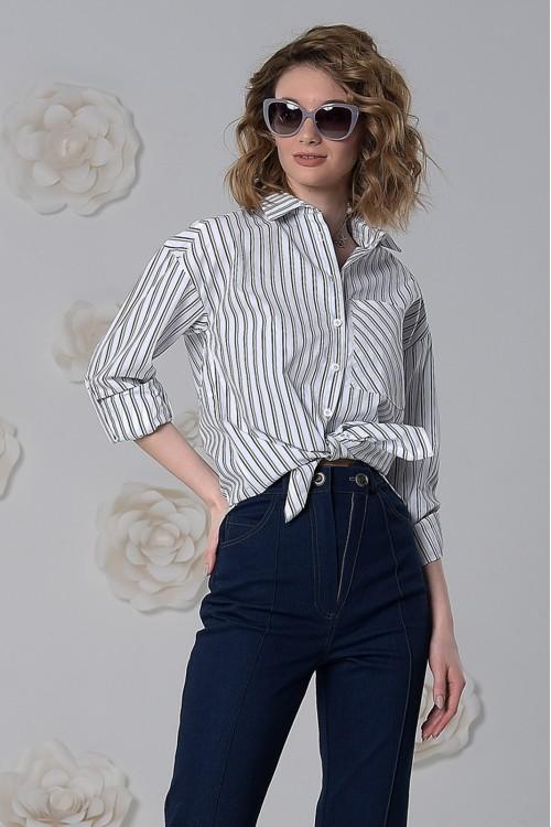 Рубашка Нора из хлопка в серо-белую полоску