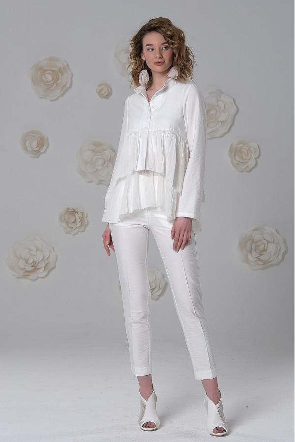 Топ-рубашка Лада из рами (крапивы) и нежной хлопковой вуали белый