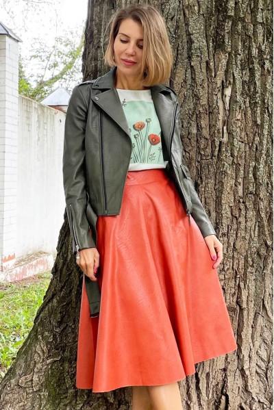 Куртка-косуха из экокожи цвета хакки