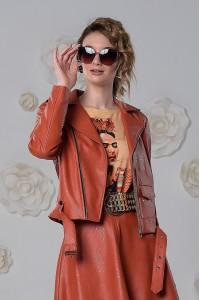 Куртка-косуха из экокожи терракотовая