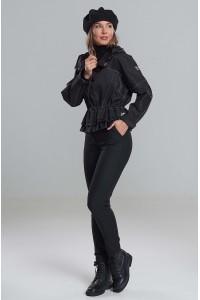 Куртка-ветровка Эвелина из саржи чёрная с синим отливом