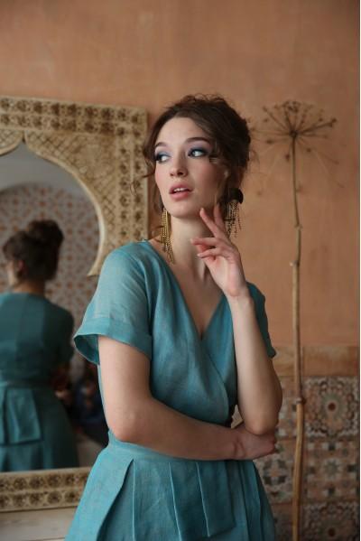Платье Лара из прореженного льна бирюзовое / серое