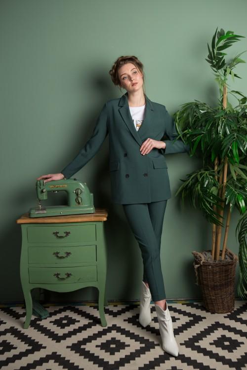 Жакет София классический из вискозы зелёный опал