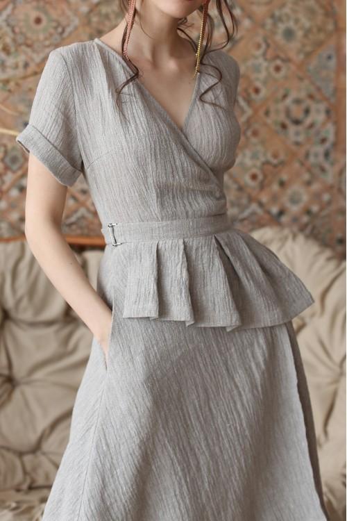 Платье Лара (мятное / серое)