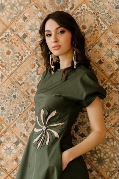 Платье Камила из хлопка мятное / песочное / хаки