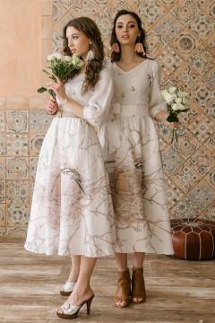 Платье Новая бабочка (Гнездо) из льна кремовое