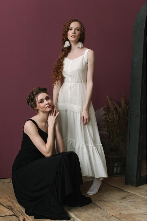 Платье Виталина из нежного шитья и вуали чёрное / белое