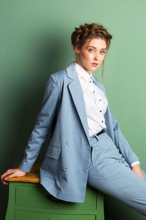Жакет София классический из вискозы голубой