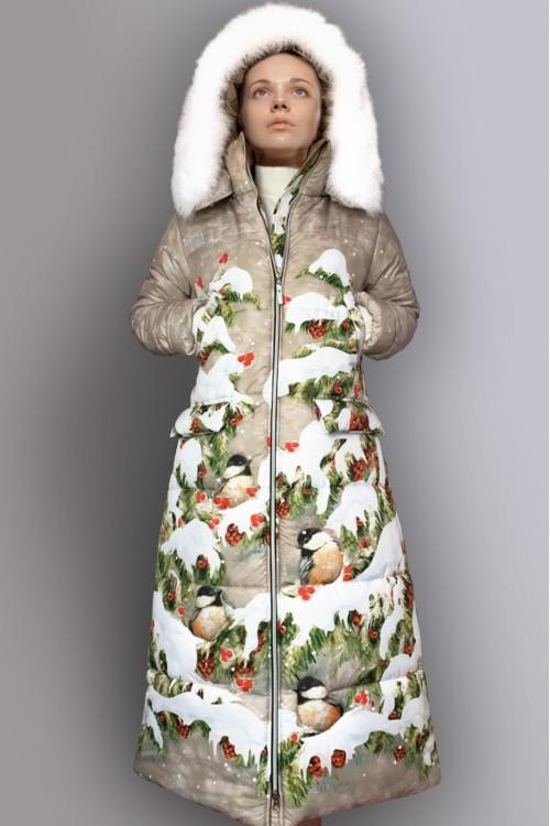 Пуховик Новый Пушок (Зимний лес). Меховой воротник + 8000₽.