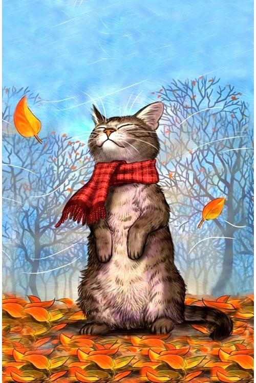 Принт Осенний кот