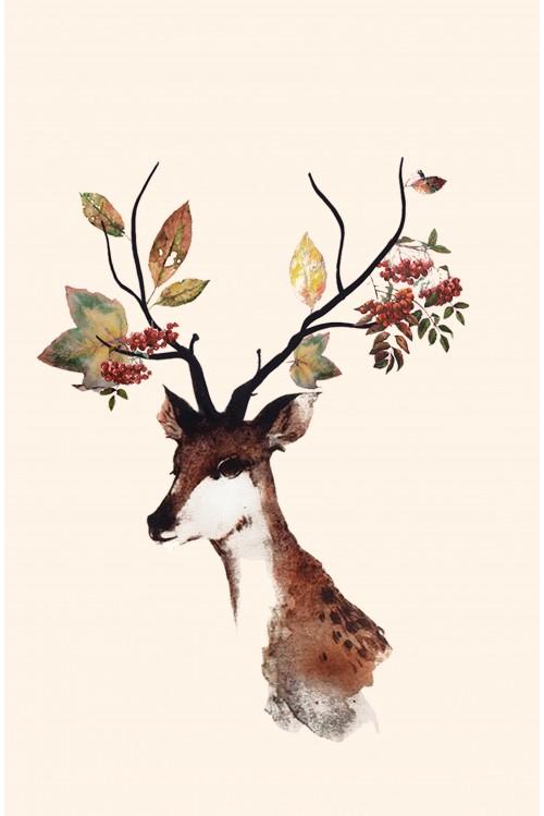 Принт Осенний олень
