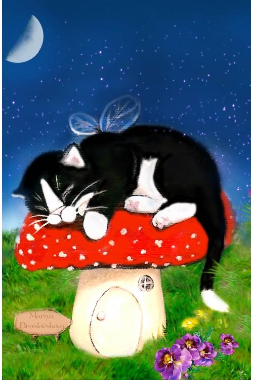 Принт Кошка на грибе