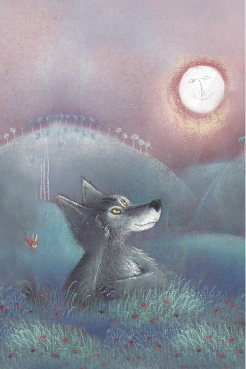 Принт Волк и луна