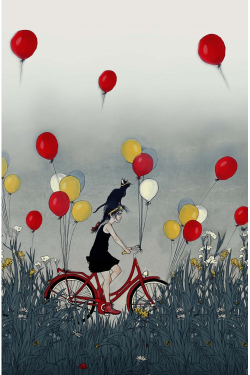 Принт Девочка на велосипеде