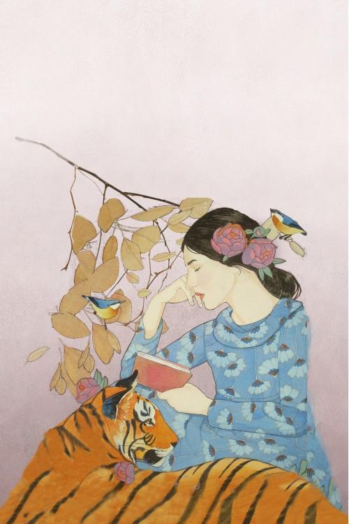 Принт Девушка и тигр