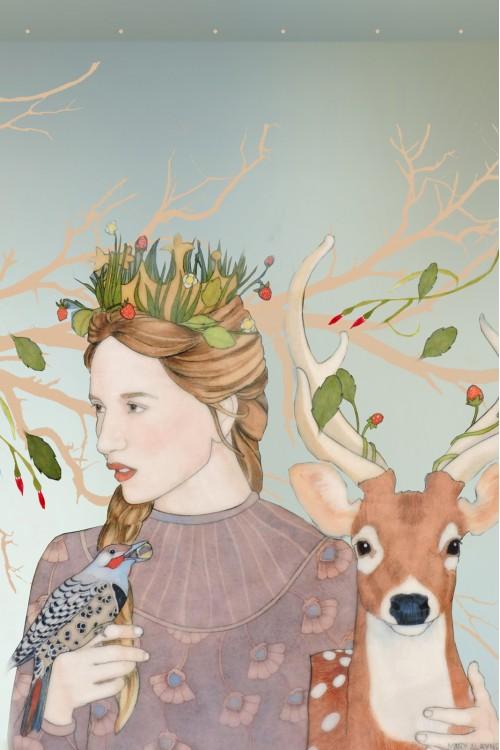 Принт Девушка и олень