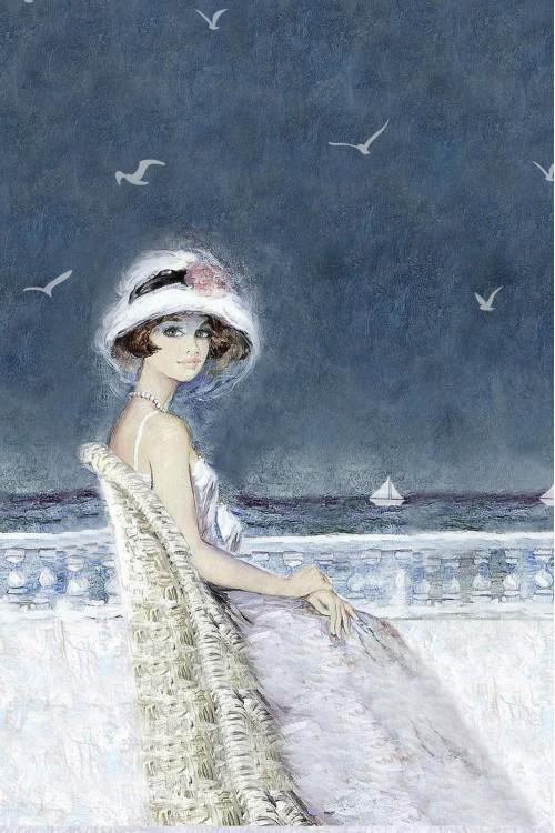 Принт Девушка у моря