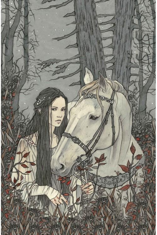 Принт Девушка и лошадь