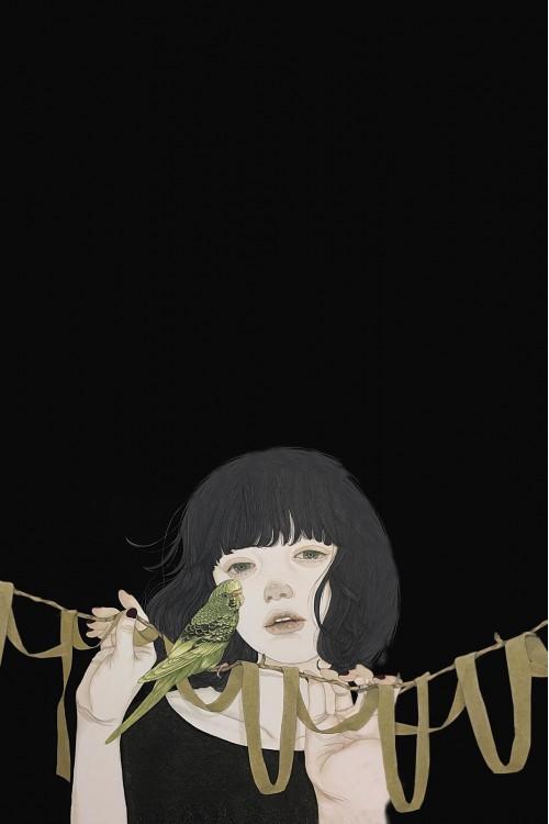 Принт (Девоччка с попугаем)