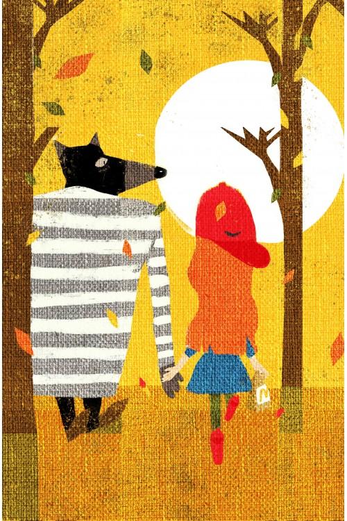 Принт Волк и девочка