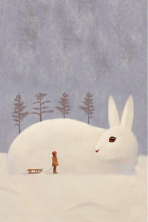 Принт Белый заяц