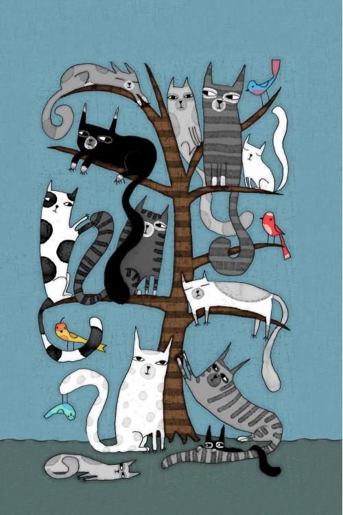 Принт Кошки на дереве