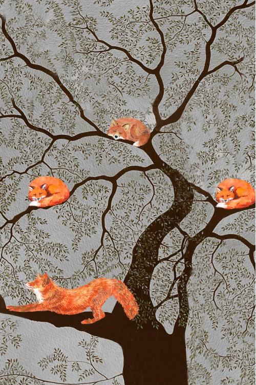 Принт Лисы на дереве