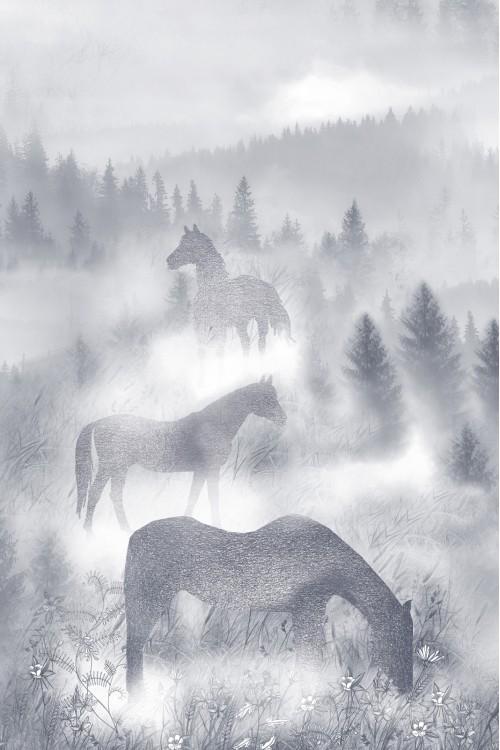 Принт Лошади в тумане