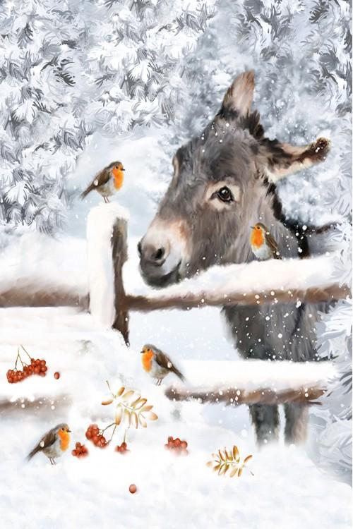 Принт Осёл и снегирь