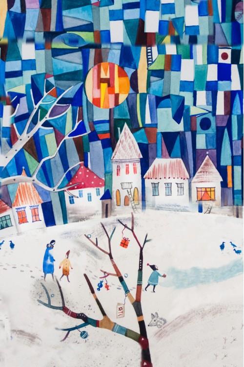 Принт Зимний город