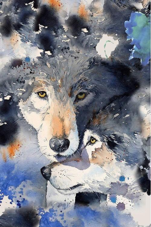 Принт Волки