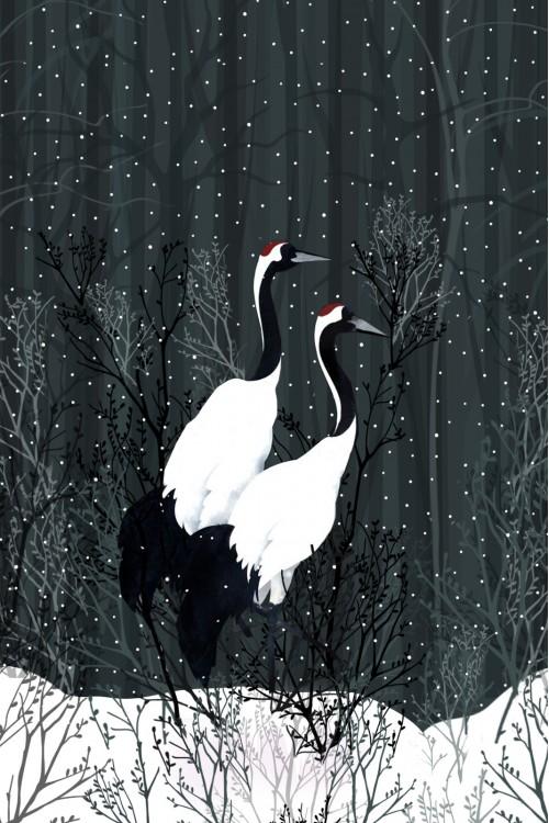Принт Журавли на снегу