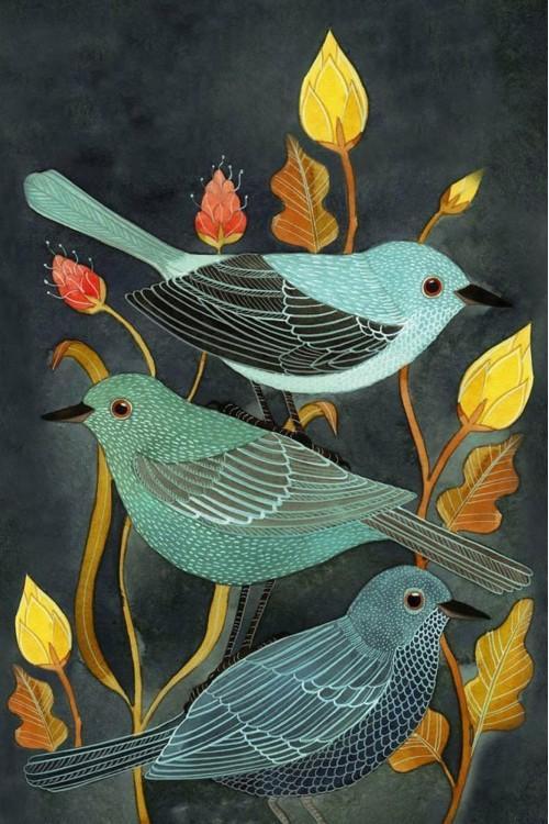 Принт Три птицы