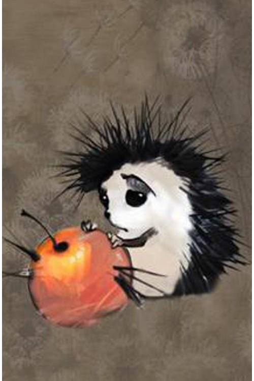 Принт Ежик и яблоко
