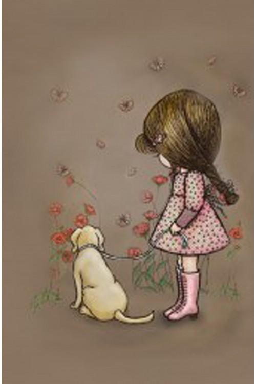 Принт Девочка и собачка