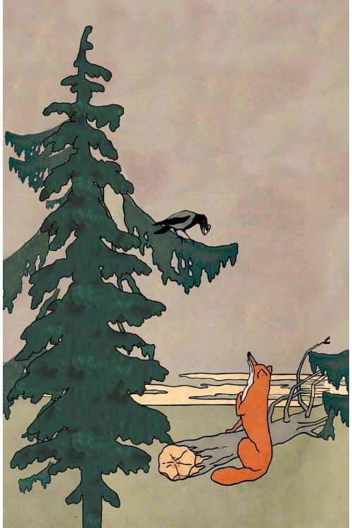 Принт Лиса и ворона