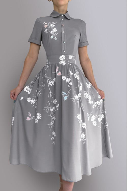 Платье Алефтина ( Серое лето)